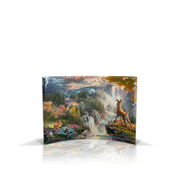 Bring the magic of Disney's Bambi into your home with this StarFire Prints curved glass. It features Thomas Kinkade's panoramic painting, Bambi's First Year, done in the artist's instantly recognizable, luminous style.