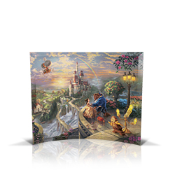 Bring the magic of Disney's Beauty and the Beast into your home with this StarFire Prints curved glass. It features Thomas Kinkade's panoramic painting, Beauty and the Beast Falling in Love, done in the artist's instantly recognizable, luminous style.