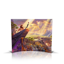 Bring the magic of Disney's The Lion King into your home with this StarFire Prints curved glass. It features Thomas Kinkade's panoramic painting, The Lion King, done in the artist's instantly recognizable, luminous style.