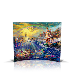 Bring the magic of Disney's The Little Mermaid into your home with this StarFire Prints curved glass. It features Thomas Kinkade's panoramic painting, The Little Mermaid, done in the artist's instantly recognizable, luminous style.