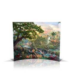 Bring the magic of Disney's The Jungle Book into your home with this StarFire Prints curved glass. It features Thomas Kinkade Studios' panoramic painting, The Jungle Book, done in the artist's instantly recognizable, luminous style.