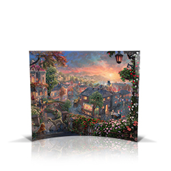 Bring the magic of Disney's Lady and the Tramp into your home with this StarFire Prints curved glass. This collectible features Thomas Kinkade Studios' panoramic painting, Lady and the Tramp, done in the artist's instantly recognizable, luminous style.