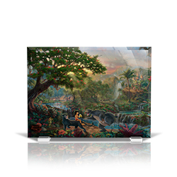 Bring the magic of Disney's The Jungle Book into your home with this StarFire Prints beveled glass. This collectible features Thomas Kinkade Studios' panoramic painting, The Jungle Book, done in the artist's instantly recognizable, luminous style.