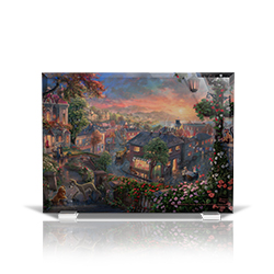 Bring the magic of Disney's Lady and the Tramp into your home with this StarFire Prints beveled glass. This collectible features Thomas Kinkade Studios' panoramic painting, Lady and the Tramp, done in the artist's instantly recognizable, luminous style.