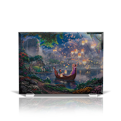 Bring the magic of Disney's Tangled into your home with this StarFire Prints beveled glass. This collectible features Thomas Kinkade Studios' panoramic painting, Tangled, done in the artist's instantly recognizable, luminous style.
