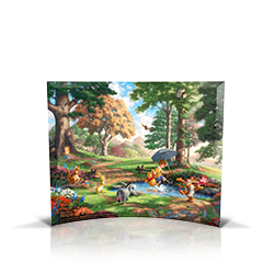 Bring the magic of Disney's Winnie the Pooh into your home with this StarFire Prints curved glass. This collectible features Thomas Kinkade Studios' panoramic painting, Winnie the Pooh I, done in the artist's instantly recognizable, luminous style.