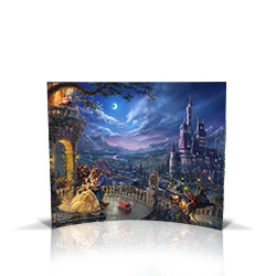 Step into the magical world of Disney's Beauty and the Beast with this sleek curved glass print featuring the stunning work of Thomas Kinkade Studios. Each detail of this free-standing piece is beautifully rendered in a vibrant, translucent finish.