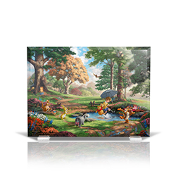 Bring the magic of Disney's Winnie the Pooh into your home with this StarFire Prints beveled glass. This collectible features Thomas Kinkade Studios' panoramic painting, Winnie the Pooh I, done in the artist's instantly recognizable, luminous style.