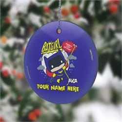 You protect the city at night and make sure justice is upheld. Now, show off to the world that you're Batwoman with this personalized hanging glass decoration. Add your name so that everyone remembers what you're also known as