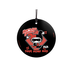 Crime and the Caped Crusader. Now, you can show off to the world that you're Harley Quinn with this personalized hanging glass decoration. Add your name so that everyone remembers what you're also known as.