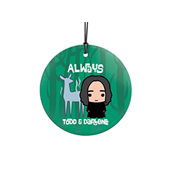Your love for the witch or wizard in your life can be shown off with this personalized hanging glass decoration. Now you can show your Always off anywhere in the house. Featuring a doe expecto patronum and Professor Snape.