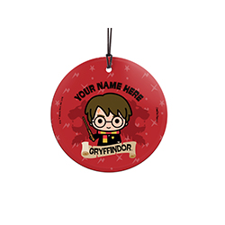 Harry is proud to be a Gryffindor, are you? Show off your Hogwarts House pride with this hanging glass decoration. Personalize with your name above an image of Harry.