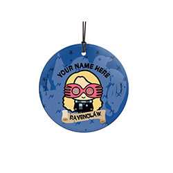 Luna Lovegood is proud to be a Ravenclaw, are you? Show off your Hogwarts House pride with this hanging glass decoration. Personalize with your name above an image of Luna.