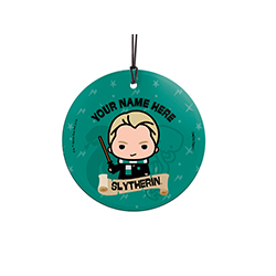 Draco Malfoy is proud to be a Slytherin, are you? Show off your Hogwarts House pride with this hanging glass decoration. Personalize with your name above an image of Draco.