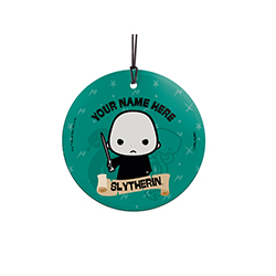 Voldemort is proud to be a Slytherin, are you? Show off your Hogwarts House pride with this hanging glass decoration. Personalize with your name above an image of Voldemort.