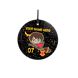 Harry's won the big game! Help celebrate his Quidditch victory with this hanging glass decoration featuring confetti in the background. Add your name and number to this hanging decoration to show your fan support!