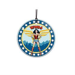 "Wonder Woman springs into action in the year 1984! This 3.5"" hanging glass accessory features a unique comic book design of your favorite Justice League member."