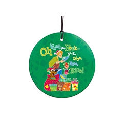 Don't worry about the naughty and nice list this year. Instead, it's only nice for the holidays. Scooby and Shaggy get ready to unwrap plenty of presents on this hanging decoration. Presents, trees and candy canes decorate the background. Comes with hangi
