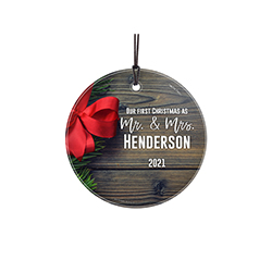 It's your first Christmas together. Show off your love and commitment with this rustic design, complete with a bow. Personalize with your name and year to remember the occasion forever.