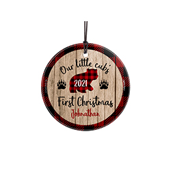 Your little cub is home and ready for the holiday season. Celebrate your first Christmas with them with a personalized hanging glass ornament. The rustic decoration houses a bear in the middle with a customized year, as well as their name at the bottom. C