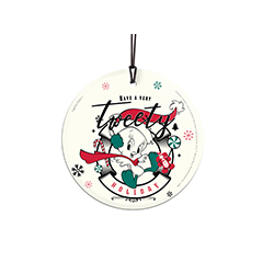"Have a very ""tweety"" holiday! Tweety Bird is all decked out in their winter attire on this 3.5"" hanging glass decoration! This accessory features a design of your favorite Looney Tunes character in muted hues, giving it a retro-feel."