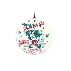 "Ho ho ho, ""hare"" we go! Bugs Bunny is ready to celebrate the Christmas season on this 3.5"" hanging glass accessory. Your favorite cartoon rabbit is dressed as Santa Claus as he carries a decorated Christmas tree over his shoulder."