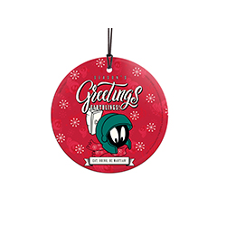 "Season's greetings, earthlings! Marvin the Martian is front and center on this 3.5"" hanging glass decoration. Your favorite Looney Tunes character is ready for the holidays in his winter scarf."