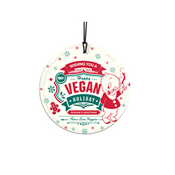 "Porky Pig wishes you a happy vegan holiday on this 3.5"" hanging glass accessory. Your favorite Looney Tunes character is hoping you replace pork loin with fresh zucchini during your holiday celebrations this year!"