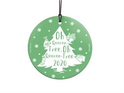 "The year 2020 was known for many things but most iconically it was known for the world-wide coronavirus pandemic. This 3.5"" hanging glass ornament features a Christmas tree, hand sanitizer, toilet paper and a mask to represent the COVID-19 quarantine effo"