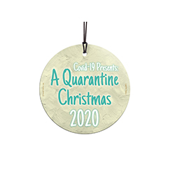 "This 3.5"" hanging glass ornament features the phrase ""COVID-19 Presents: A Quarantine Christmas 2020"", making it a great keepsake and conversation starter for future generations."