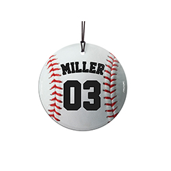 "This 3.5"" hanging glass ornament is the perfect gift for baseball fans and players alike! Featuring a design of a baseball, personalize this glass decoration with your favorite player's name and number."