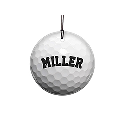 "This 3.5"" hanging glass ornament is the perfect gift for golf fans and players alike! Featuring a design of a golf ball, personalize this glass decoration with your favorite player's name."