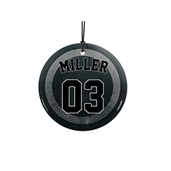 "This 3.5"" glass ornament is great for hockey fans and players. Featuring a design of a hockey puck, personalize this glass decoration with your favorite player's name and number."