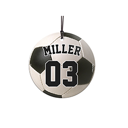 "This 3.5"" glass ornament is great for soccer fans and players alike. Featuring a design of a soccer ball, personalize this glass decoration with your favorite player's name and number."