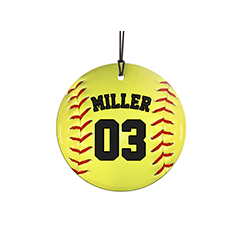 "This 3.5"" hanging glass ornament is a homerun for softball fans. Featuring a design of a softball, personalize this glass decoration with your favorite player's name and number."