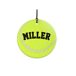 "The next tennis great is on the court – tell the Williams sisters to watch out! This 3.5"" glass ornament is perfect for tennis players and fans alike. Featuring a design of a tennis ball, personalize this glass decoration with your favorite player's name."