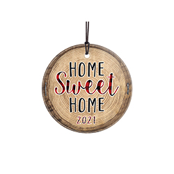 "This 3.5"" hanging glass ornament is perfect for wherever you call home. This rustic style glass decoration has a printed tree stump design with the phrase ""Home Sweet Home"" and a space to personalize with the year you moved into your residence."