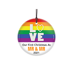 "Featuring a vivid rainbow of colors, ""LOVE"", the phrase ""Our First Christmas As Mr. and Mr."" and an area to personalize with your wedding year, this 3.5"" glass ornament is perfect for the newlyweds in your life!"
