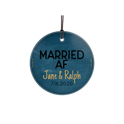 "This 3.5"" glass ornament is perfect for the newlywed couple who is familiar with modern slang. This hanging glass décor reads ""Engaged AF"" and allows for personalization of the couple's names and their wedding date."