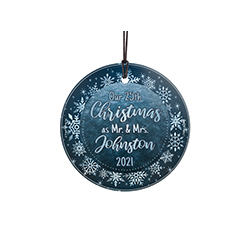 "This glass decoration features a silver and blue snowflake design with the phrase ""Our *insert personalized anniversary number* Christmas as Mr. and Mrs"" along with an area to personalize with the year and your last name."