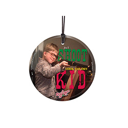 An elated Ralphie holds his Daisy Model 1938 Red Ryder youth BB gun in this scene from the classic film, A Christmas Story.  The artwork is permanently fused to our StarFire Prints hanging glass.