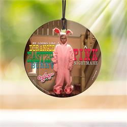 Ralphie is revealed in his pink bunny pajamas in this hideously hilarious moment from the classic film, A Christmas Story. The artwork is permanently fused to our StarFire Prints ™ hanging glass.