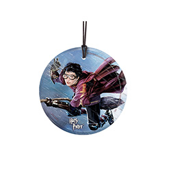 Catching the Golden Snitch takes skill, speed and hard work. Are you up for the task? On this hanging glass decoration, Harry Potter is in his Quidditch garb, on a mission to capture the Golden Snitch to earn 150 points for Gryffindor.