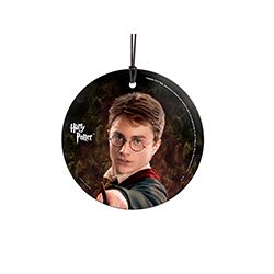 "The boy who lived comes to life on this hanging glass decoration! Is he casting ""Lumos"" or his signature ""Expelliarmus""? You are well aware of the many adventures of Harry Potter, and this hanging glass is perfect as you reminisce on his seven years of es"