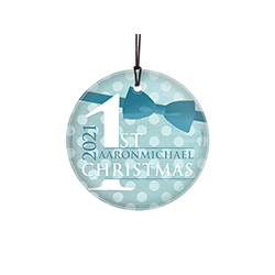Celebrate your little one's first festive season with this beautiful hanging glass that comes with a display ribbon. Personalize this Glass Print with a name and hang it on your festive wall or display it in a window.