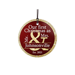 Celebrate your first festive together with this personalized hanging glass print. Insert your own last name and hang this beautiful print on your wall as a reminder of those first precious memories. This hanging glass print comes with a display ribbon.