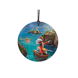 Tick-tock! Tick-Tock! Tick-tock the croc stalks Captain Hook and Mr. Smee through the bay of Never Land Island! This Thomas Kinkade magical hanging glass captures your attention with its sublime attention to the details of Disney's classic animation