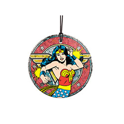 Wonder Woman leaps from the pages of her comics and is ready for battle with Bracelets of Submission and the Lasso of Truth! The Amazonian warrior princess is featured in classic style, in bright blue, red, white, and gold.