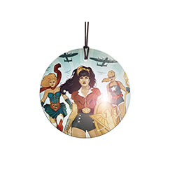 Wonder Woman, Stargirl, and Supergirl – Now in vintage, WWII bombshell-style artwork! The three fierce heroes stand ready to take on enemies and fight for justice as war planes fly overhead. This light-catching StarFire Prints™ Hanging Glass