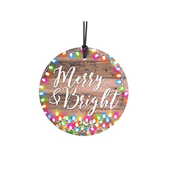 May your days be merry and bright, like this StarFire Prints™ Hanging Glass. The vivid image of twinkling, colorful lights on a wood panel backdrop is fused directly and permanently to the glass for a lasting, light-catching piece of festive décor.